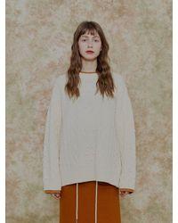 among A Colour Line Twist Knit - White
