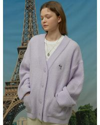 WAIKEI Dolphin Embroidered Oversized Fit Cardigan - Purple
