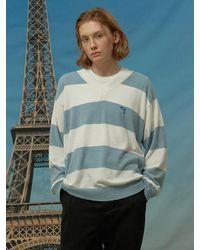 WAIKEI Big Stripe V-neck Sweater Blue