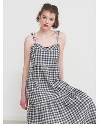 VEMVER Sleeveless Check Maxi Dress - Black
