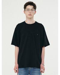 Add Twist Pattern Fit Half Sleeve T-shirt Black
