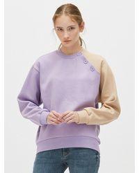 Plac Button Detail Color-block Sweatshirt - Purple