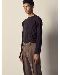 Noirer Lux Silk Long Sleeve T-shirt Brown
