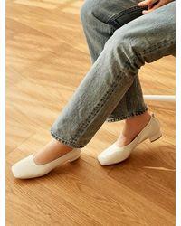 MARONY CROSHET Mc 004 Square Toe Mid Court Shoes Ivory - White