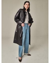 Bouton Blown Sleeve Trench Coat Black
