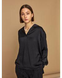 HIDDEN FOREST MARKET Zuly Silky Long Sleeve Blouse - Black