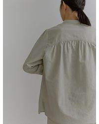 38comeoncommon Henley Neck Cotton Shirring Blouse () - Multicolor