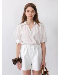 THE ASHLYNN Blair Sheer Collar Blouse (white)