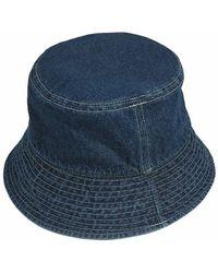 XTONZ White Stitched Denim Bucket Hat Blue