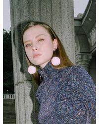 CLUT STUDIO 1 1 Pompom Drop Earrings - Pink
