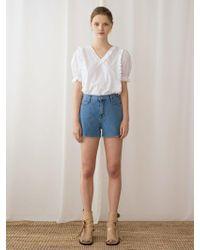 among Denim Banding Shorts - Blue