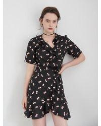 W Concept - Ruffle Point Cherry Wrap Dress - Lyst