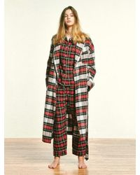 MONOPISPA - Buffalo Robe Coat Flannel Royal Stewart - Lyst