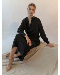 Emin & Paul Long Sleeve Asymmetrical Button Dress - Black