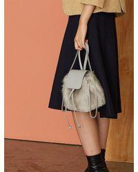Atelier Park - Color Handle Fur Bag_silver Grey - Lyst