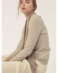 LE CASHMERE Basic R Neck Pullover - Brown