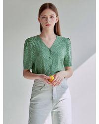 YAN13 - Floral V-neck Blouse - Lyst