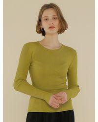 among A Diagonal Ribbed Knit Top - Green