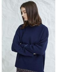 MILLOGREM   Embroideried Cuffs Sweater Navy   Lyst