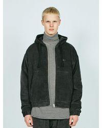 LAYER UNION Corduroy Hooded Jacket Ql Charcoal - Grey