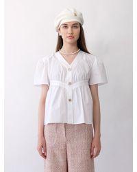 THE ASHLYNN Rylie Volume Shirring Blouse () - White
