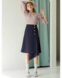 F.COCOROMIZ Unbalance Button Wrap Skirt - Blue