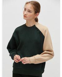 Plac Button Detail Color-block Sweatshirt - Green