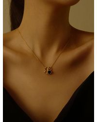 FLOWOOM Heart Clover Necklace Gold - Metallic