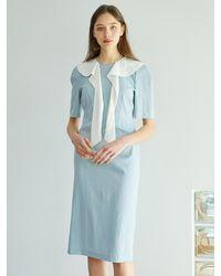 F.COCOROMIZ Collar Romantic Venus Dress (sk) - Blue
