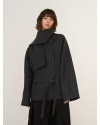 AEER Muffler Collar Loose Jacket - Black
