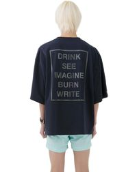 Heich Blade Reflective Slogan Oversized T-shirt - Blue