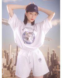 CLUT STUDIO Cat Planet Sweat Shorts () - White