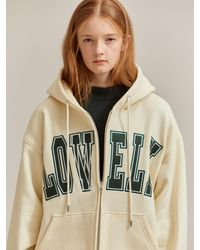 NOHANT - Lonely/lovely Zip-up Hoodie Light Beige - Lyst