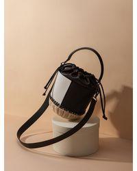 Lapalette Pique-nique Rattan Small Bucket Bag - Black