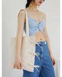 FUNFROMFUN - Ribbon Detailed Cotton Bag Ivory - Lyst