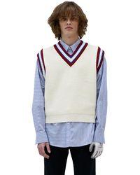 Heich Blade Line Wool Vest - White
