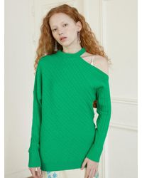 Baby Centaur Like Cashmere Tiny Cable Knit Top [] - Green