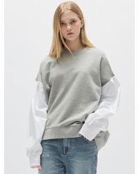 Plac [y Line] Puff Mix Sweatshirt - Grey