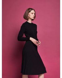AYIHOLIC CASHMERE Flared Rib Knit Dress Black - Brown