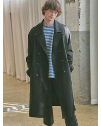 YAN13 Double Robe Long Coat - Black