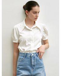 YAN13 Seersucker Shirring Blouse - White
