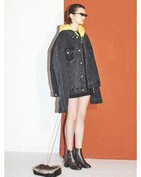 W Concept - [unisex] Black Oversized Cutting Detail Denim Jacket Fj002 - Lyst