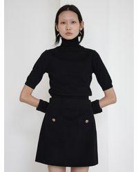 Baby Centaur Hand Warmer Short Sleeve Knit Top - Black