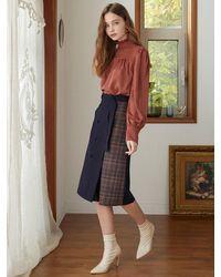 F.COCOROMIZ Double Check P Wool Skirt - Blue