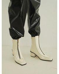 Reike Nen Rl4-sh018 / Turned Edge Zip-up Boots - Natural
