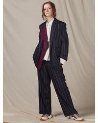 W Concept Suede Colour Matching Collar Vintage Stripes Suit - Blue