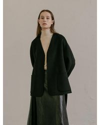 COLLABOTORY No Collar Half Coat - Black