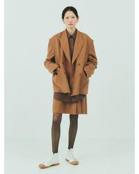 Bensimon Double Breasted Wool Jacket Set - Brown
