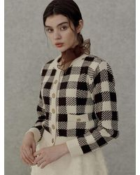 among A Gold Button Check Cardigan - Brown