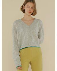 among A Colour Line Knit Top - Grey
